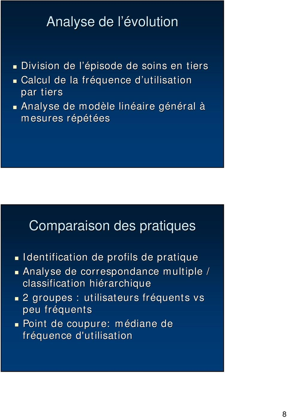 Identification de profils de pratique Analyse de correspondance multiple / classification