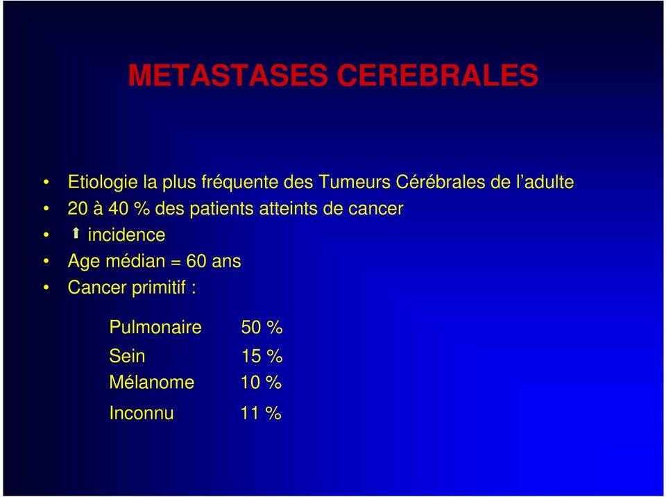 atteints de cancer incidence Age médian = 60 ans Cancer