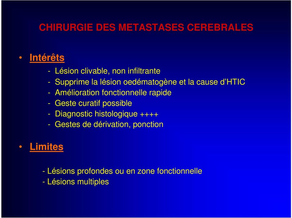 fonctionnelle rapide - Geste curatif possible - Diagnostic histologique ++++ -