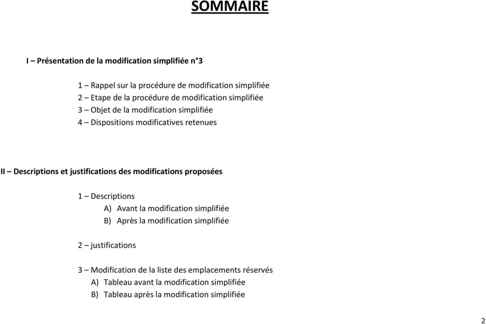 des modifications proposées 1 Descriptions A) Avant la modification simplifiée B) Après la modification simplifiée 2 justifications 3