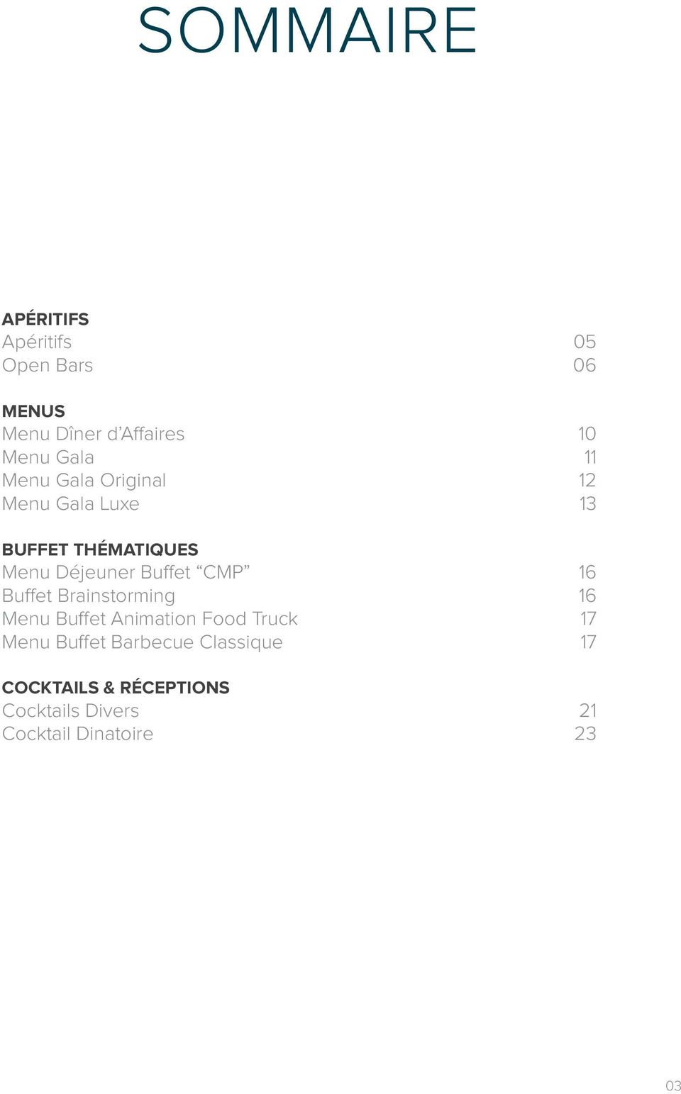 Buffet CMP 16 Buffet Brainstorming 16 Menu Buffet Animation Food Truck 17 Menu