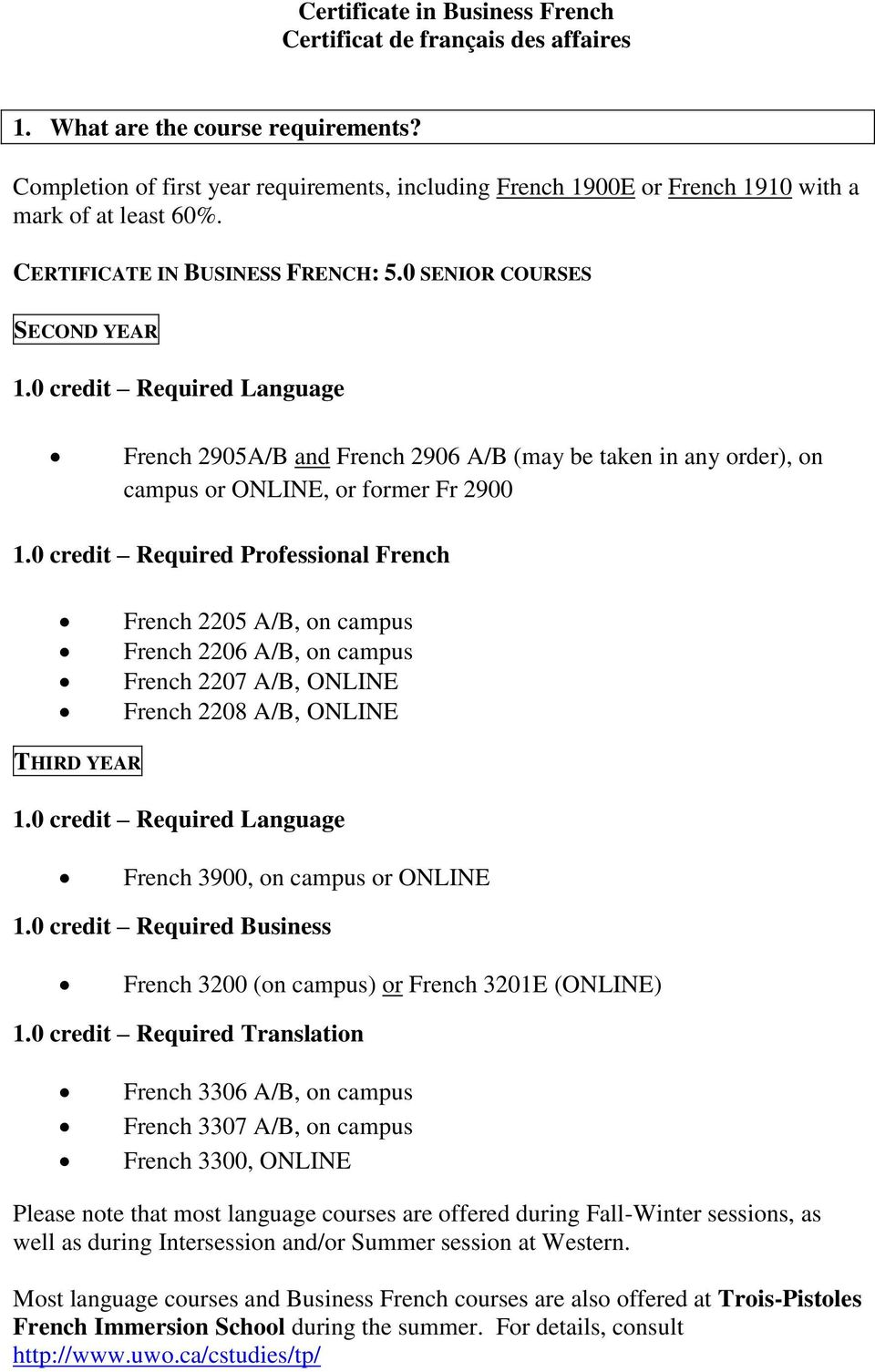 0 credit Required Language French 2905A/B and French 2906 A/B (may be taken in any order), on campus or ONLINE, or former Fr 2900 1.
