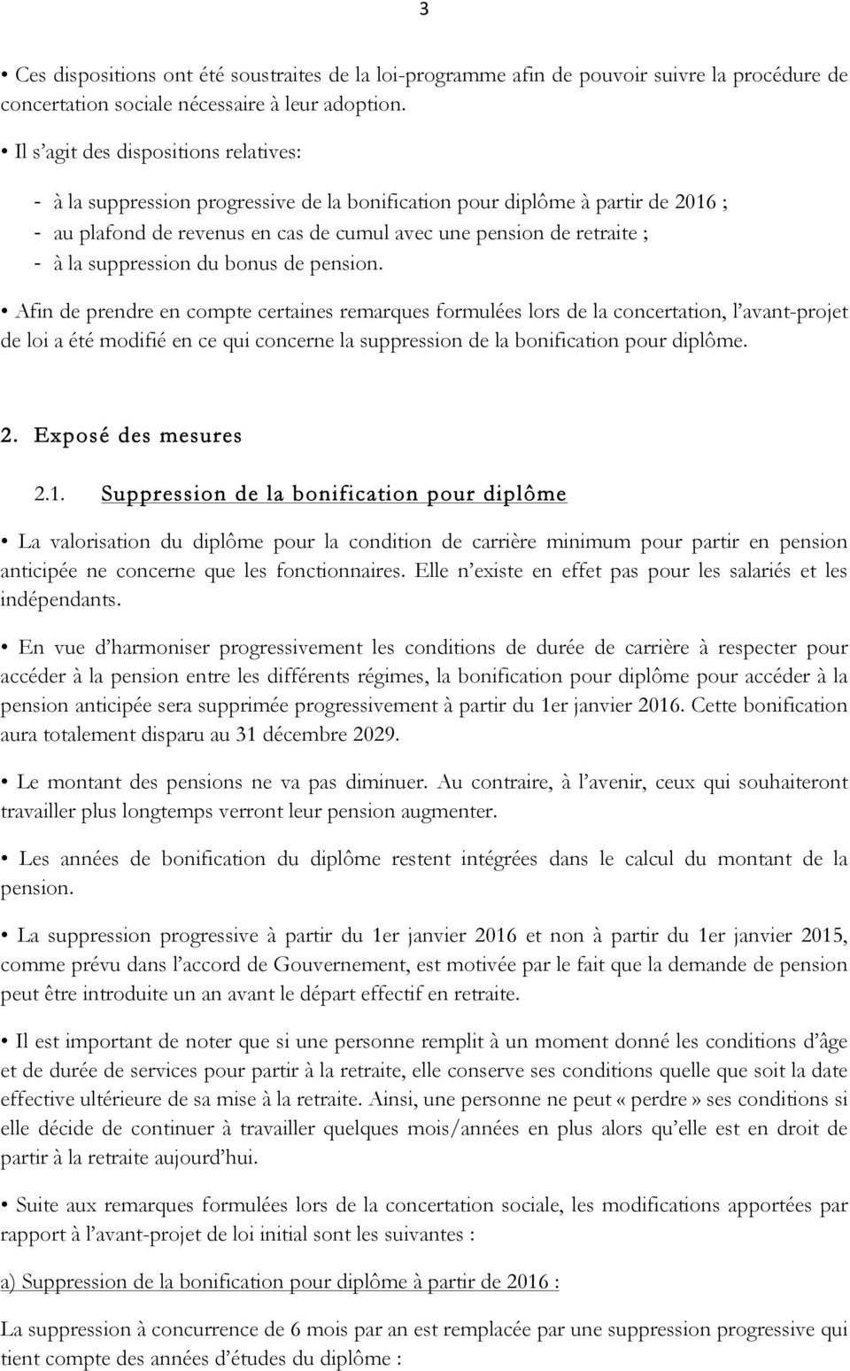 suppression du bonus de pension.