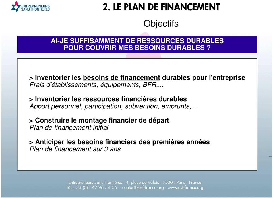 .. > Inventorier les ressources financières durables Apport personnel, participation, subvention, emprunts,.