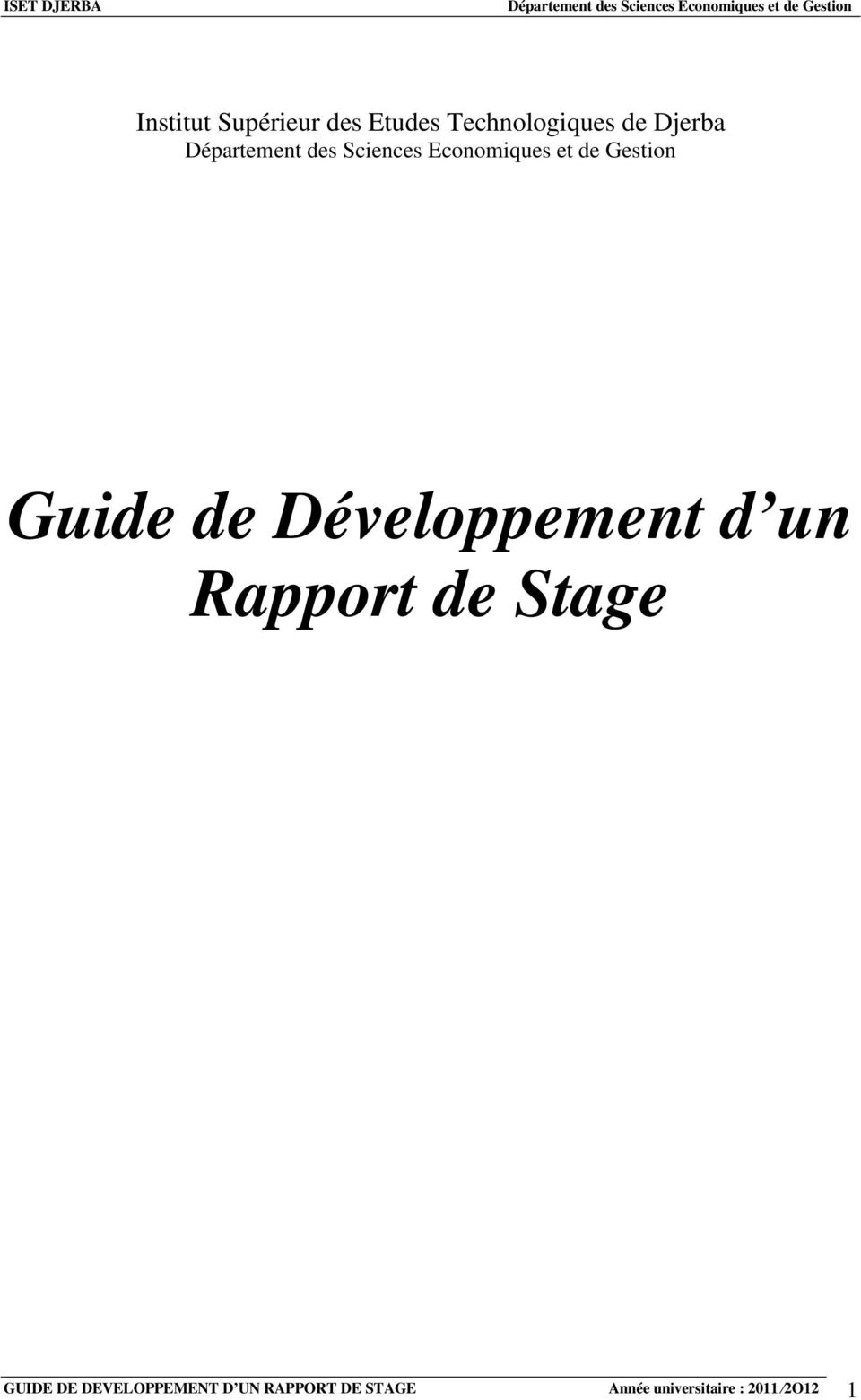 Rapport de Stage GUIDE DE DEVELOPPEMENT D UN