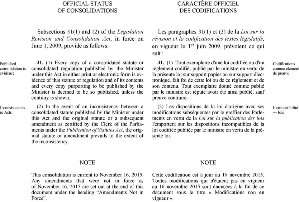 (1) Every copy of a consolidated statute or consolidated regulation published by the Minister under this Act in either print or electronic form is evidence of that statute or regulation and of its