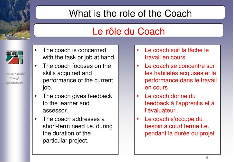 The coach addresses a short-term need i.e. during the duration of the particular project.