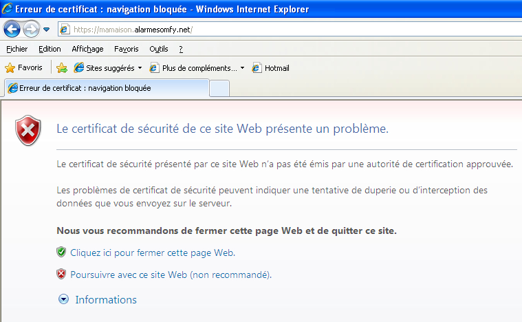 Partie A : installation du certificat sur Internet Explorer (Version 8)