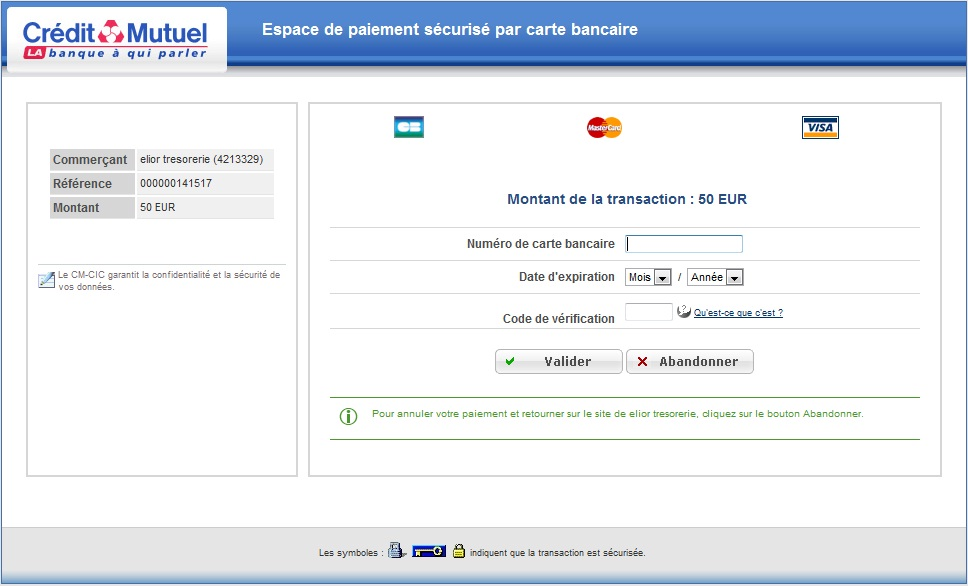 Step 5 : Bank transaction Enter your bank