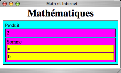 "... ou l expression a + b function init() { var dom_body = document.getelementbyid(""page"") ; dom_body.innerhtml = ""<h1>mathématiques</h1>"" ; dom_body."