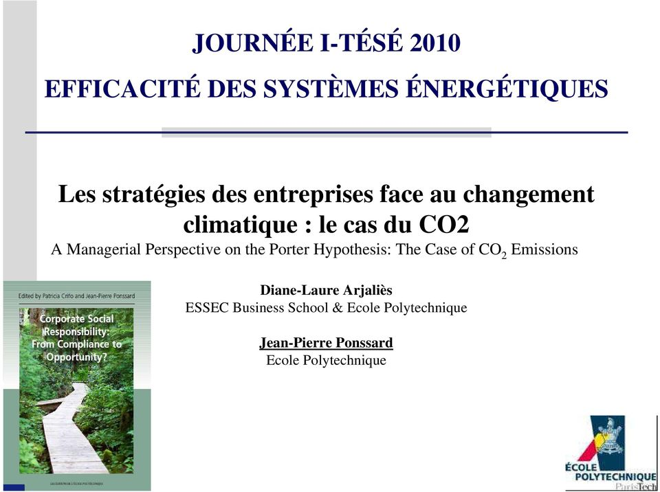 Perspective on the Porter Hypothesis: The Case of CO 2 Emissions Diane-Laure