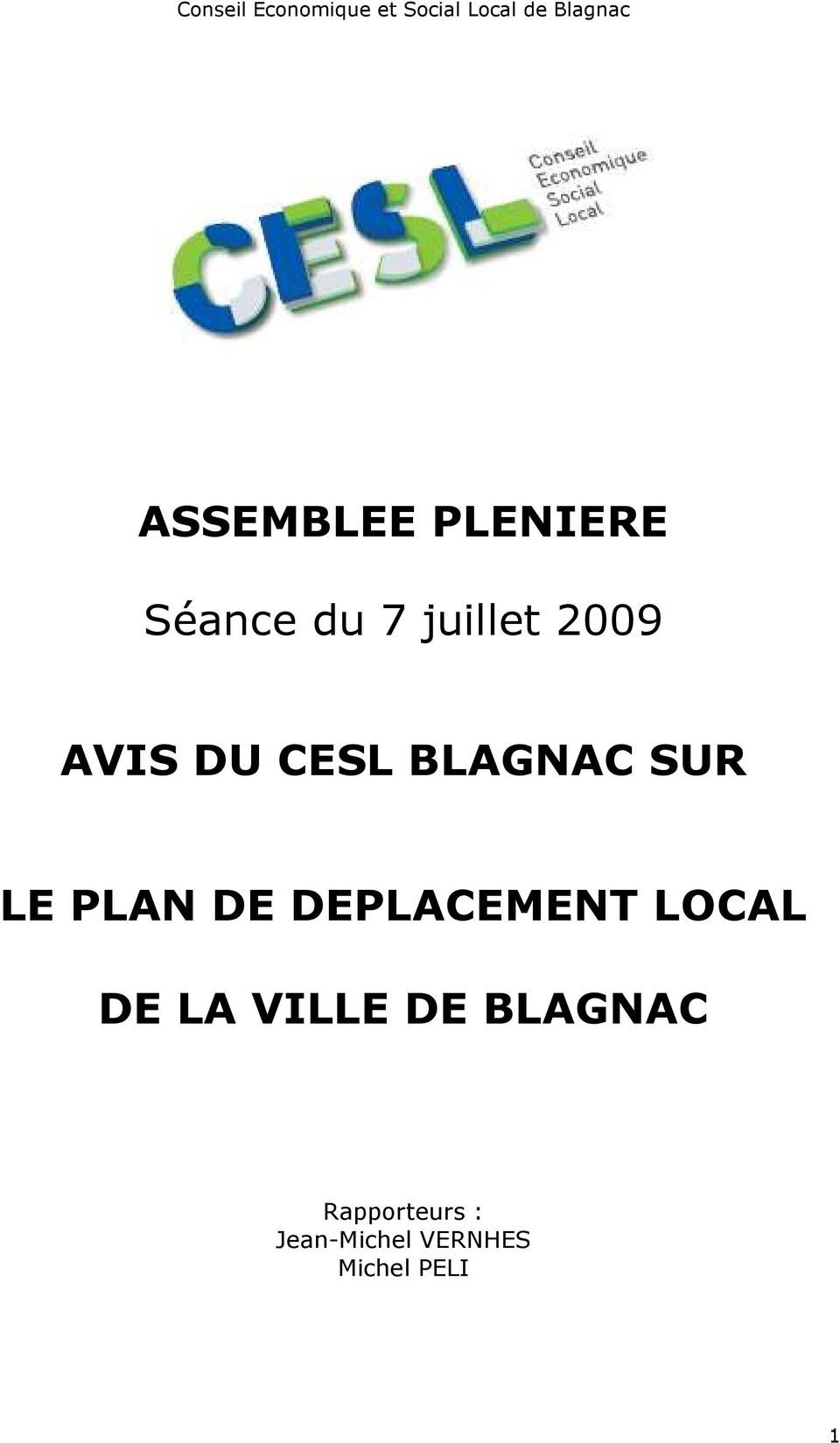 CESL BLAGNAC SUR LE PLAN DE DEPLACEMENT LOCAL DE LA