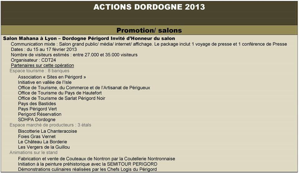 Plan actions 2013 promotion communication relations presse - Nombre de visiteurs salon de l agriculture ...