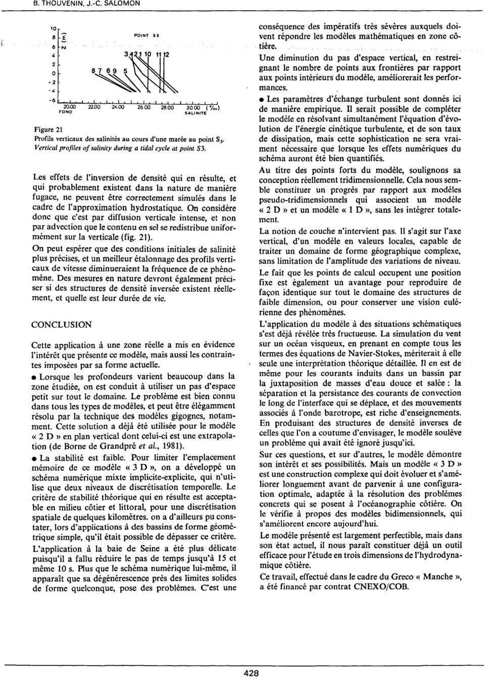 ( ; FOND SALINITE Figure 2 Profils verticaux des salinités au cours d'une marée au point S 3 Vertical profiles of salinity during a tidal cycle at point S3, Le~ effets de l'inversion de densité qui