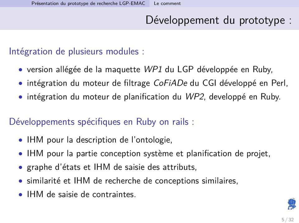 WP2, developpé en Ruby.