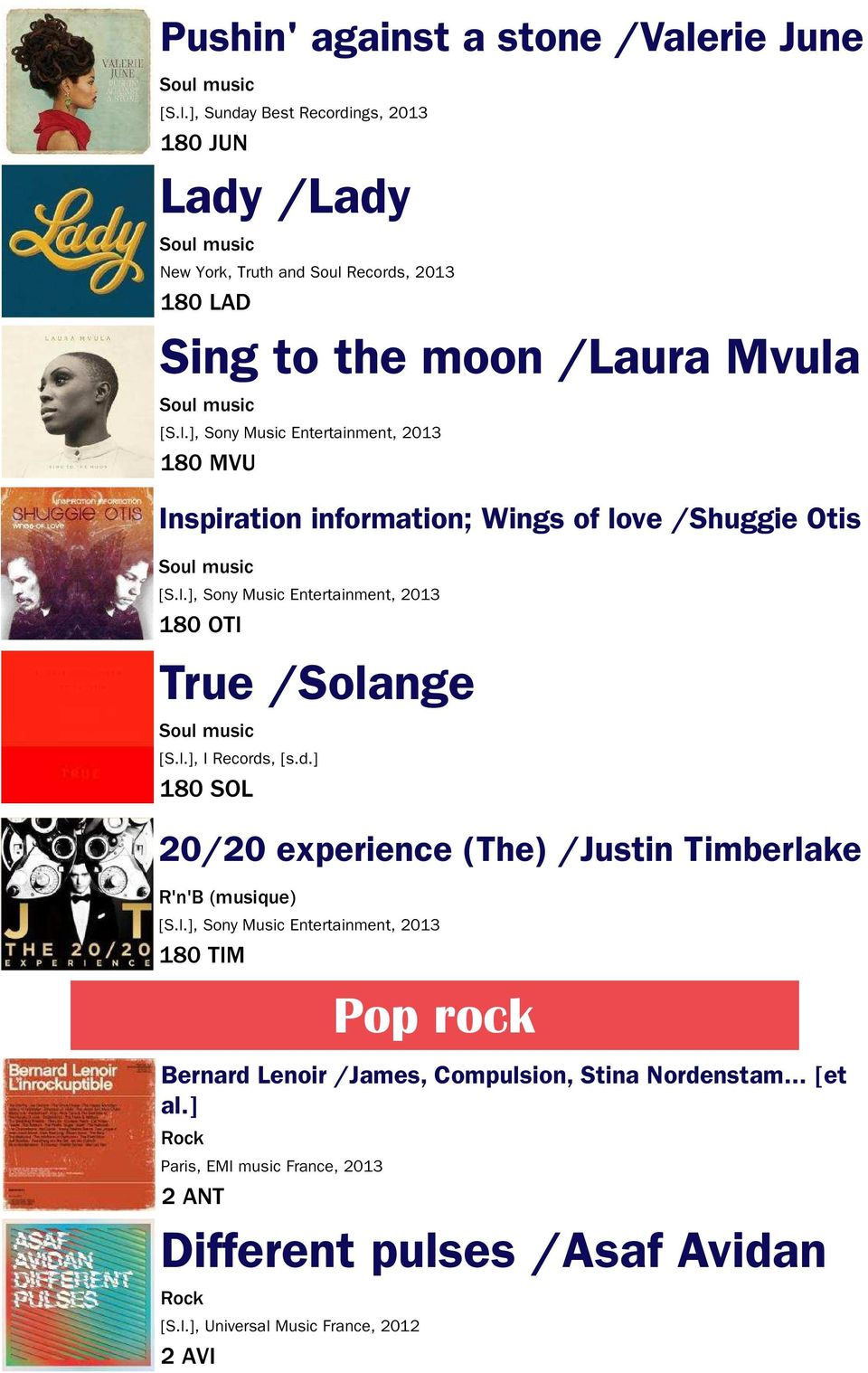 l.], Sony Music Entertainment, 2013 180 MVU Inspiration information; Wings of love /Shuggie Otis Soul music [S.l.], Sony Music Entertainment, 2013 180 OTI True /Solange Soul music [S.