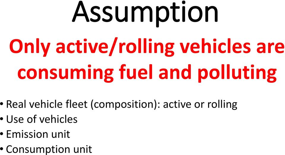 vehicle fleet (composition): active or