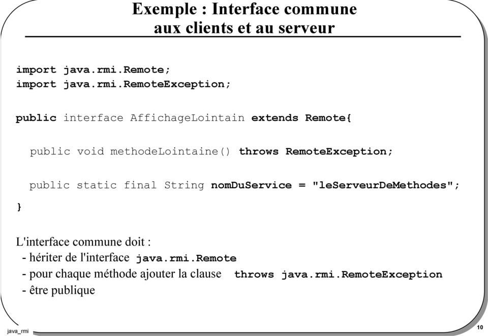 remoteexception; public interface AffichageLointain extends Remote{ public void methodelointaine() throws