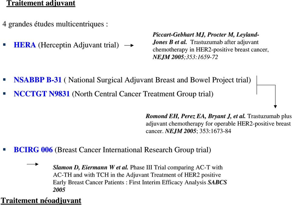 Central Cancer Treatment Group trial) BCIRG 006 (Breast Cancer International Research Group trial) Traitement néoadjuvant Romond EH, Perez EA, Bryant J, et al.