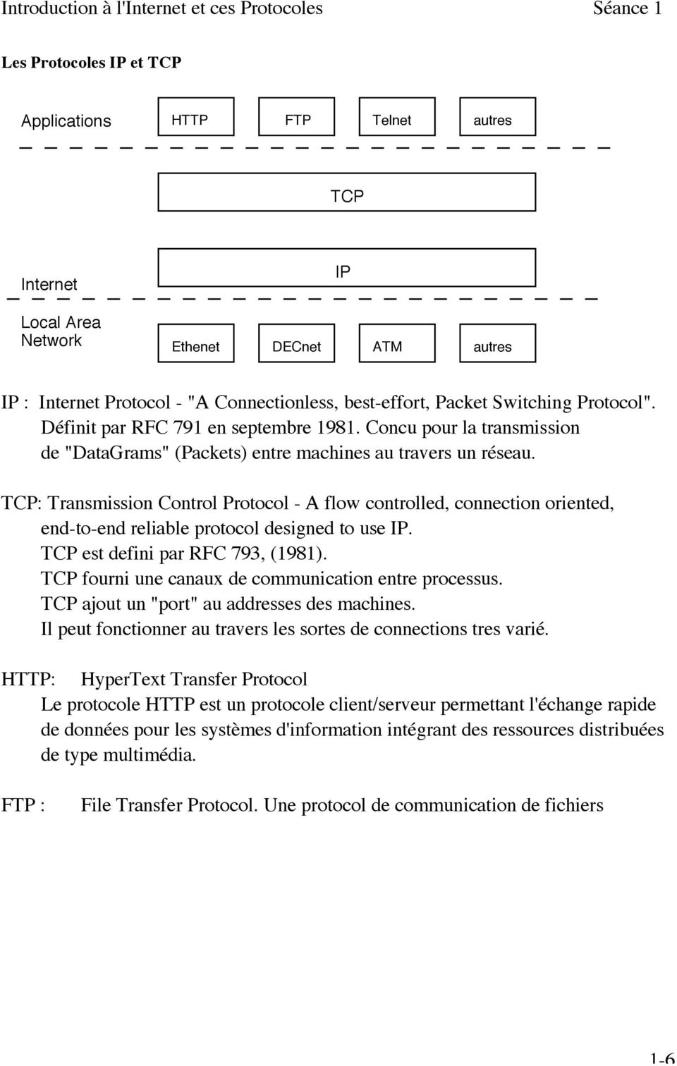 TCP: Transmission Control Protocol - A flow controlled, connection oriented, end-to-end reliable protocol designed to use IP. TCP est defini par RFC 793, (1981).