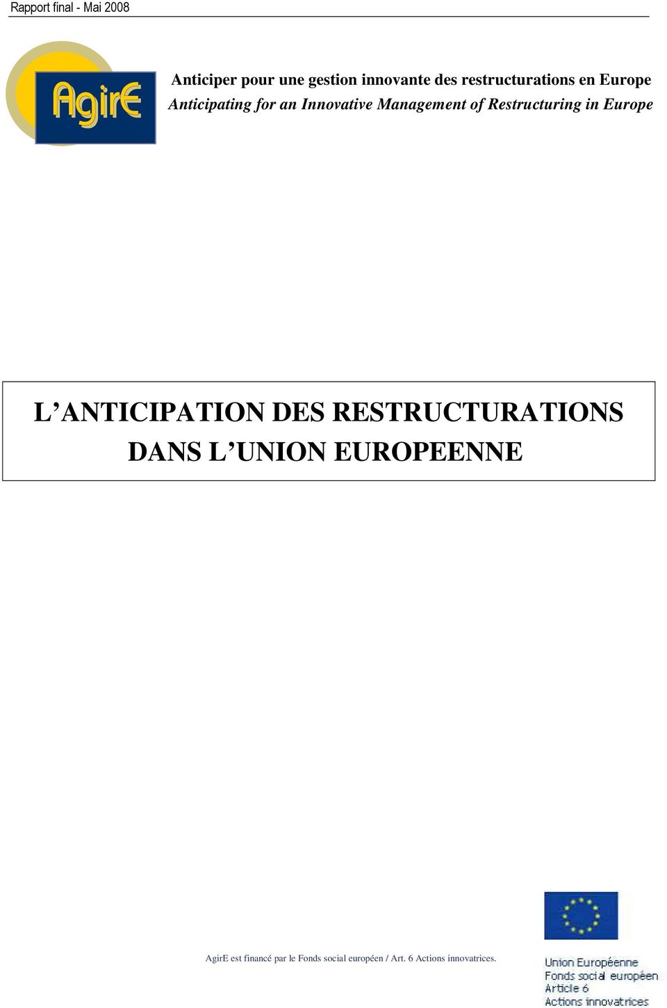 L ANTICIPATION DES RESTRUCTURATIONS DANS L UNION EUROPEENNE AgirE