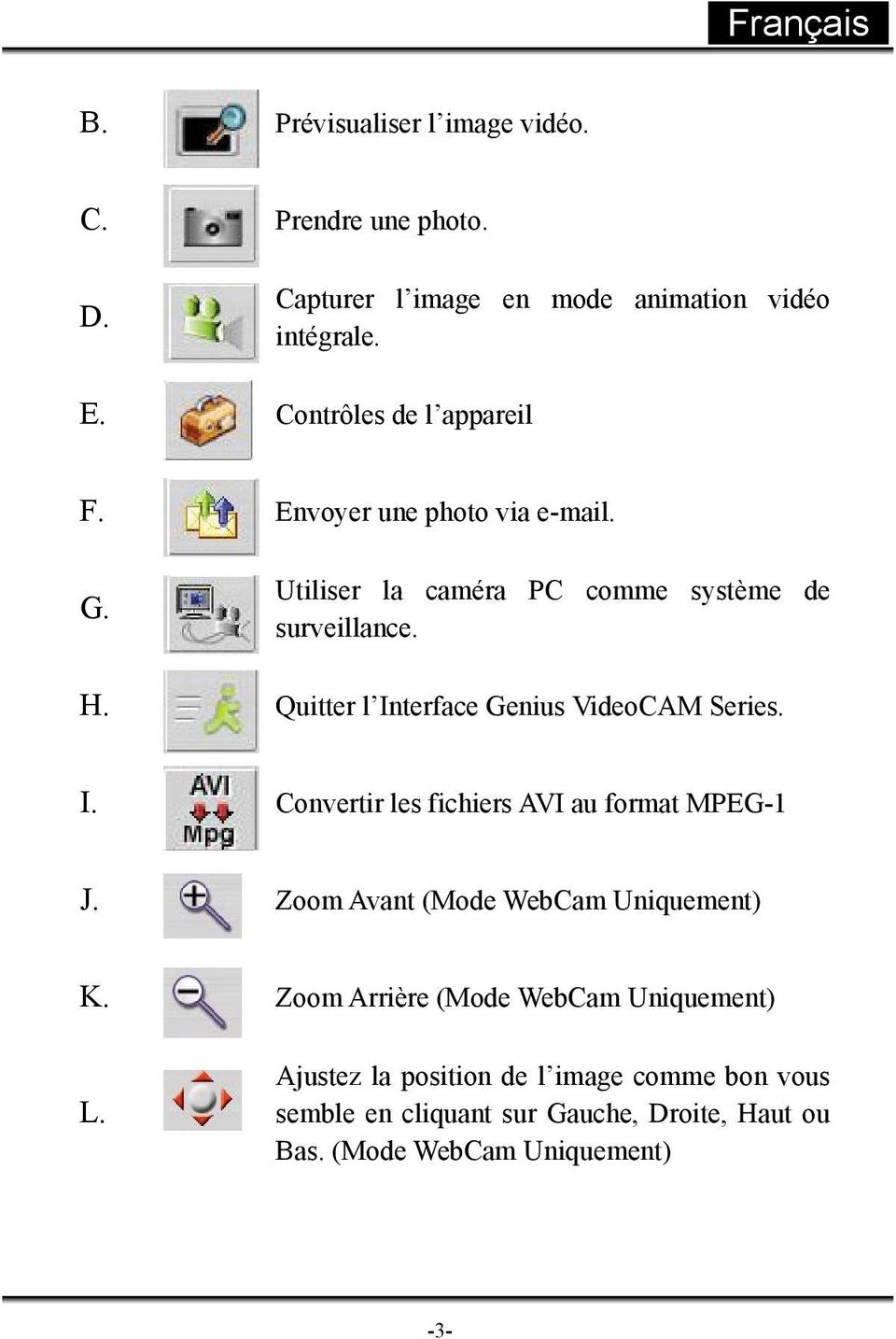 Quitter l Interface Genius VideoCAM Series. I. Convertir les fichiers AVI au format MPEG-1 J. Zoom Avant (Mode WebCam Uniquement) K.