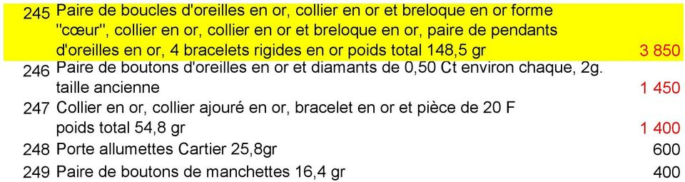 en or et diamants de 0,50 Ct environ chaque, 2g.