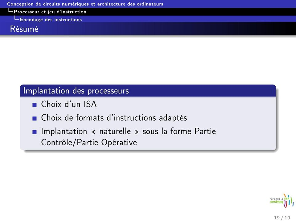 d'instructions adaptés Implantation naturelle