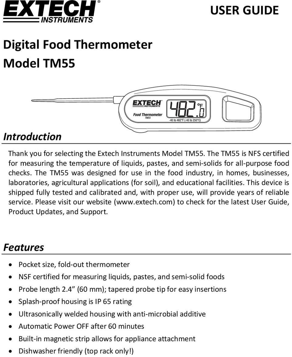 The TM55 was designed for use in the food industry, in homes, businesses, laboratories, agricultural applications (for soil), and educational facilities.