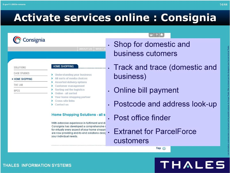 business) Online bill payment Postcode and address