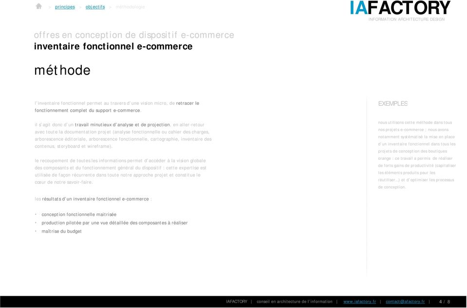 arborescence fonctionnelle, cartographie, inventaire des contenus, storyboard et wireframe).