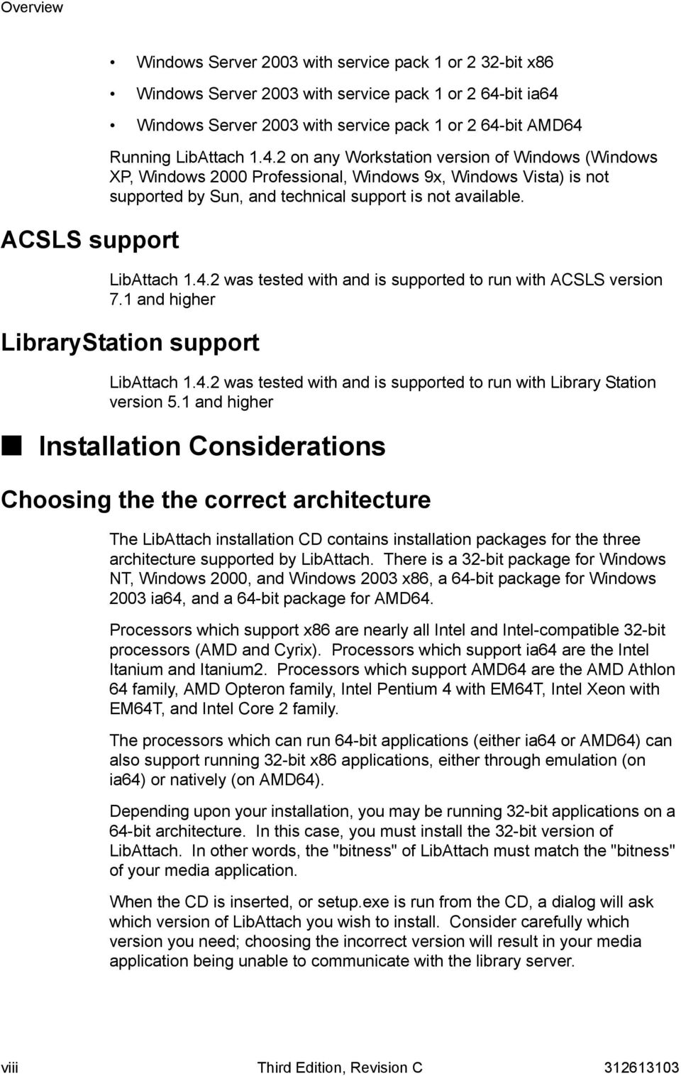 LibAttach 1.4.2 was tested with and is supported to run with ACSLS version 7.1 and higher LibraryStation support LibAttach 1.4.2 was tested with and is supported to run with Library Station version 5.