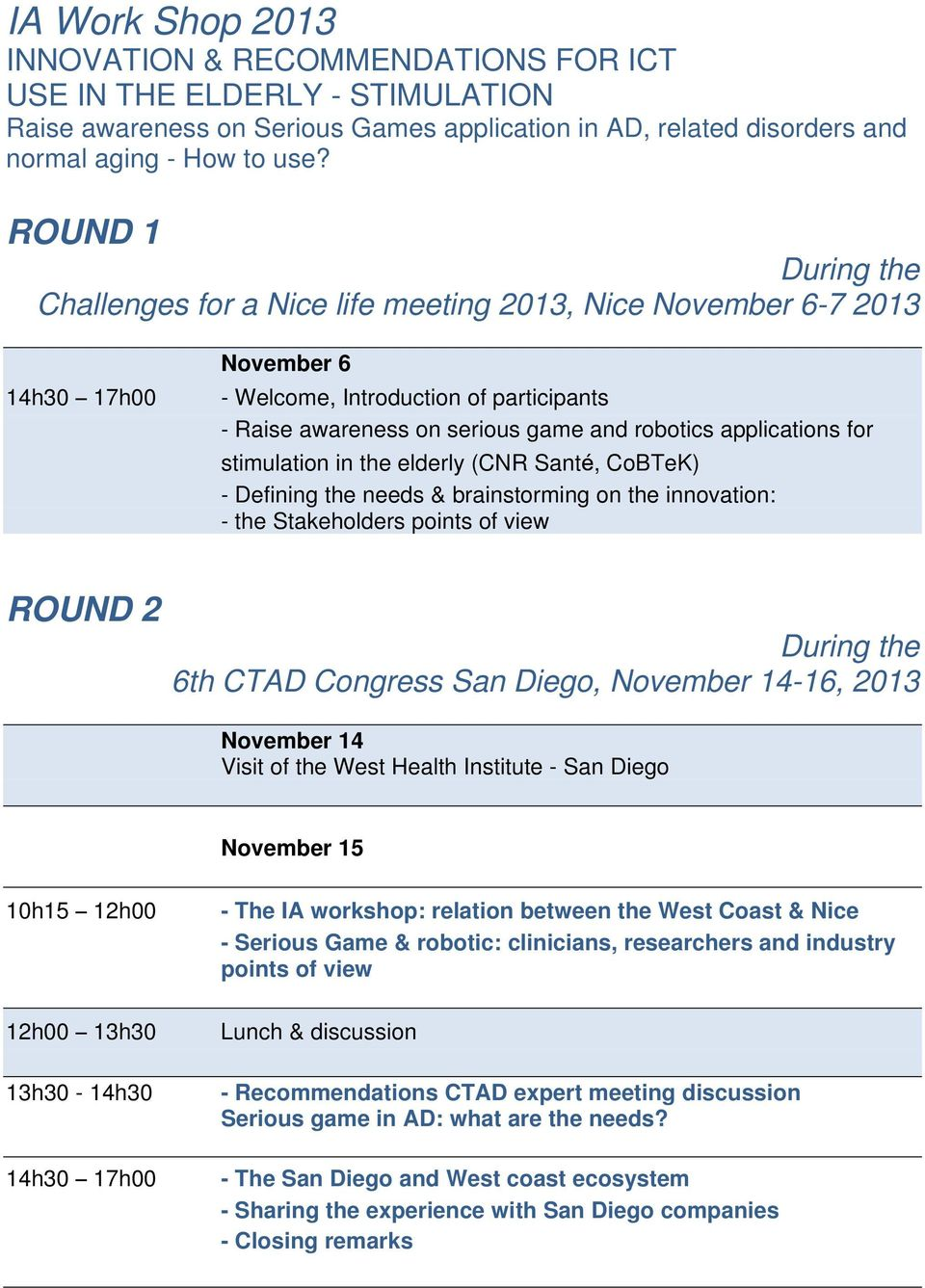 stimulation in the elderly (CNR Santé, CoBTeK) - Defining the needs & brainstorming on the innovation: - the Stakeholders points of view ROUND 2 During the 6th CTAD Congress San Diego, November
