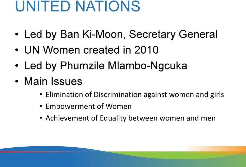 Issues Elimination of Discrimination against women and
