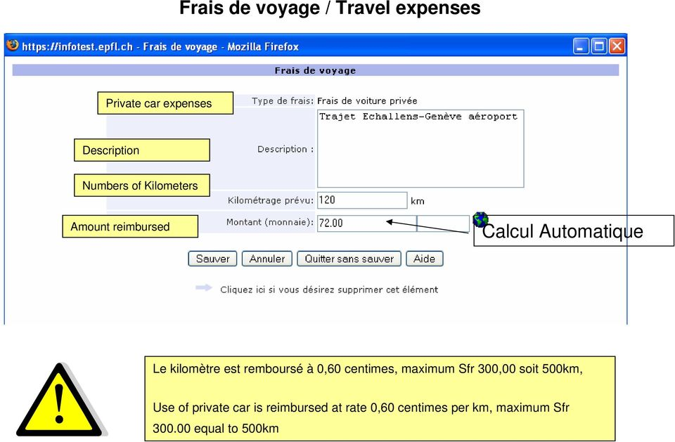 remboursé à 0,60 centimes, maximum Sfr 300,00 soit 500km, Use of private