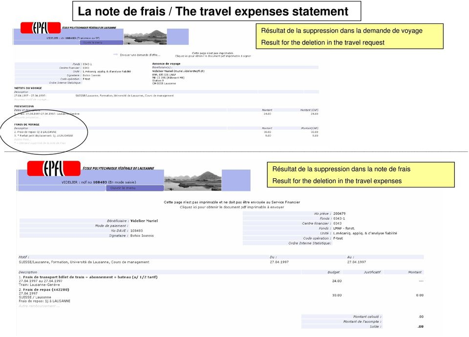deletion in the travel request Résultat de la suppression