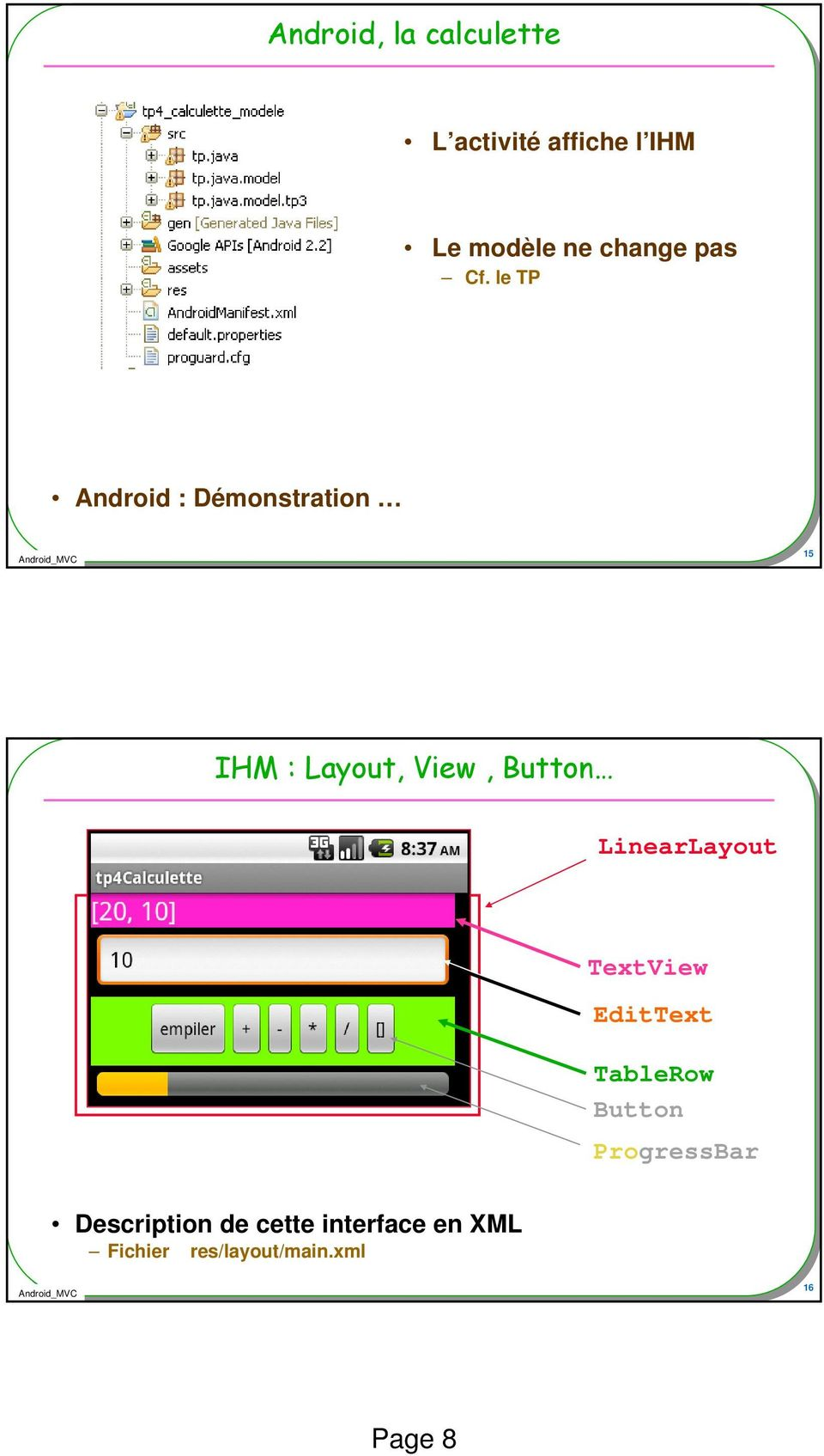 le TP Android : Démonstration 15 IHM : Layout, View, Button