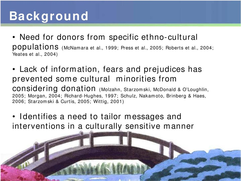 , 2004) Lack of information, fears and prejudices has prevented some cultural minorities from considering donation (Molzahn,