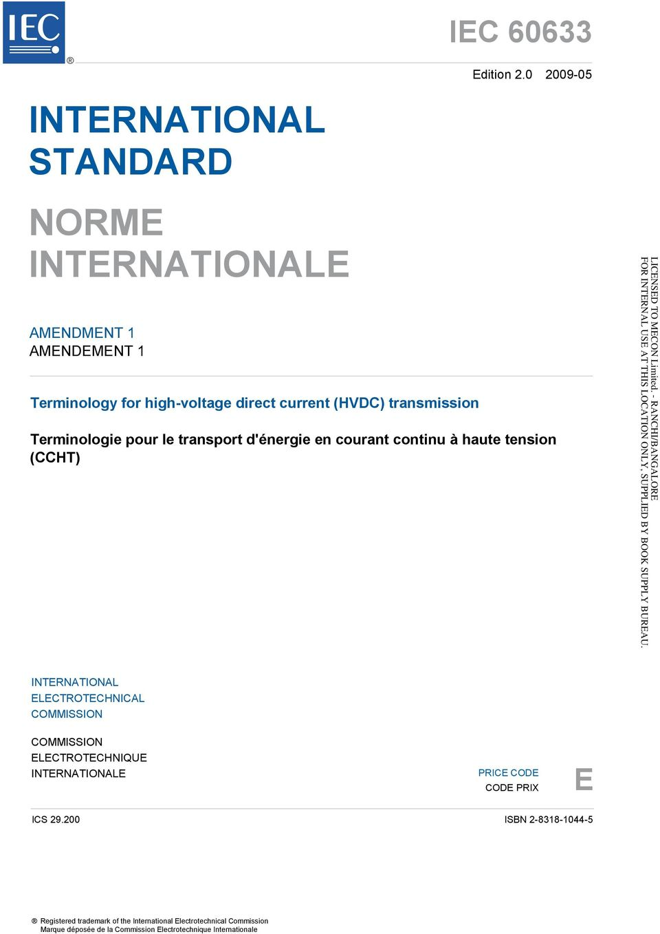 transmission Terminologie pour le transport d'énergie en courant continu à haute tension (CCHT) INTERNATIONAL ELECTROTECHNICAL