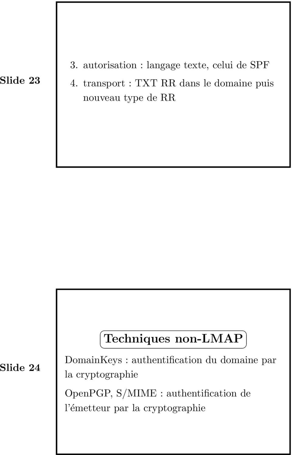 Techniques non-lmap DomainKeys : authentification du domaine par la