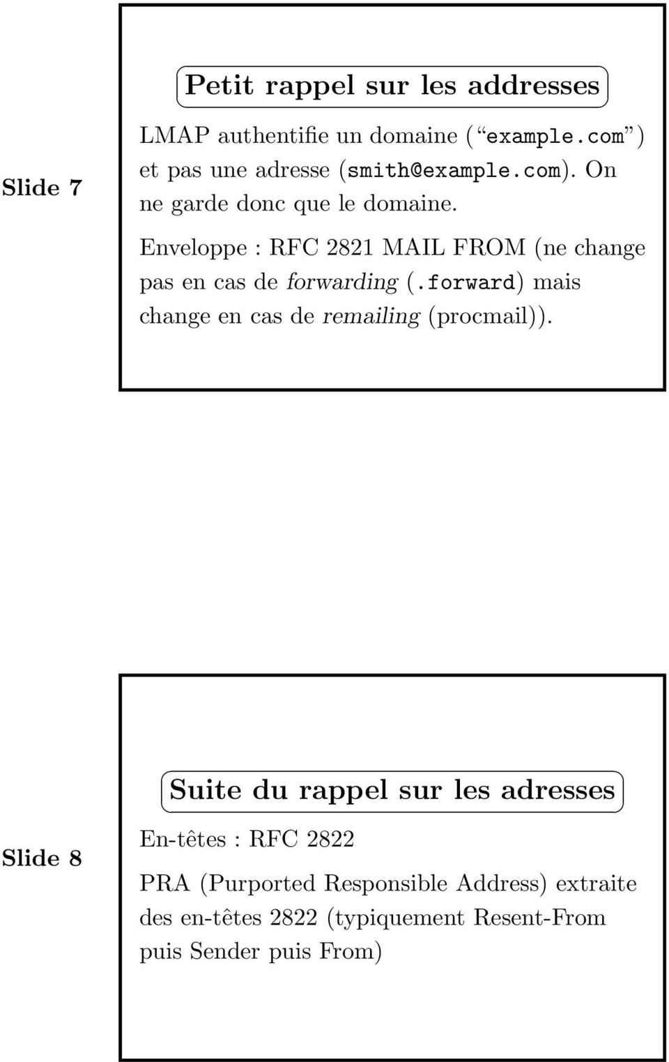 Enveloppe : RFC 2821 MAIL FROM (ne change pas en cas de forwarding (.