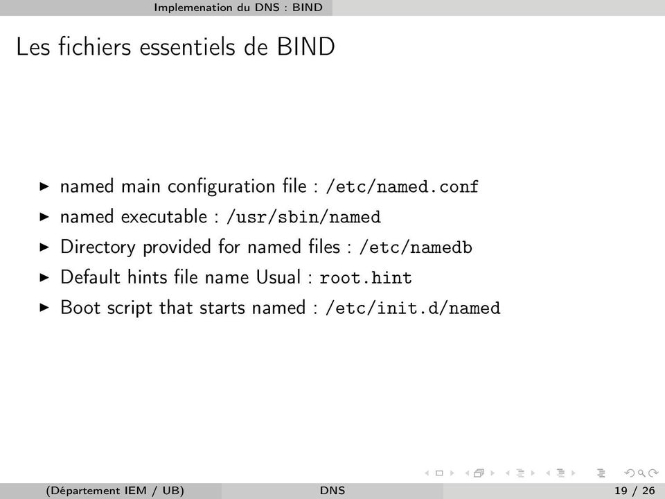 conf named executable : /usr/sbin/named Directory provided for named files :