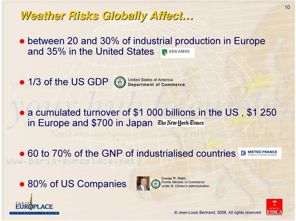 $1 000 billions in the US, $1 250 in Europe and $700 in Japan 60 to 70% of the GNP of industrialised