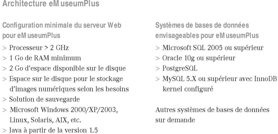 2000/XP/2003, Linux, Solaris, AIX, etc. > Java à partir de la version 1.