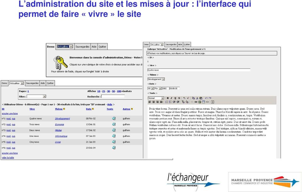jour : l interface qui