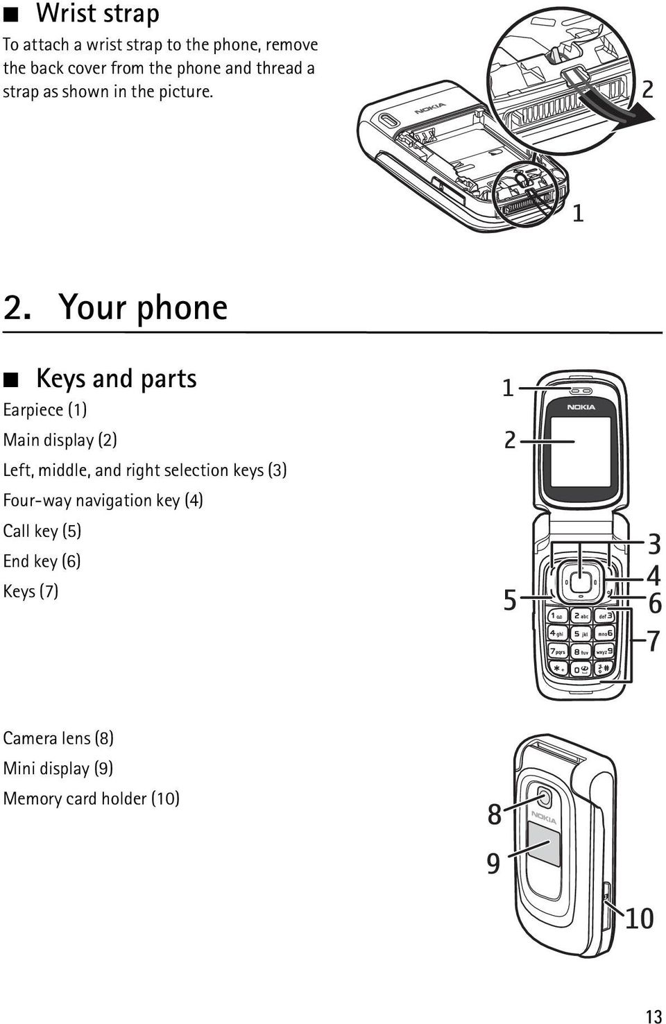 Your phone Keys and parts Earpiece (1) Main display (2) Left, middle, and right