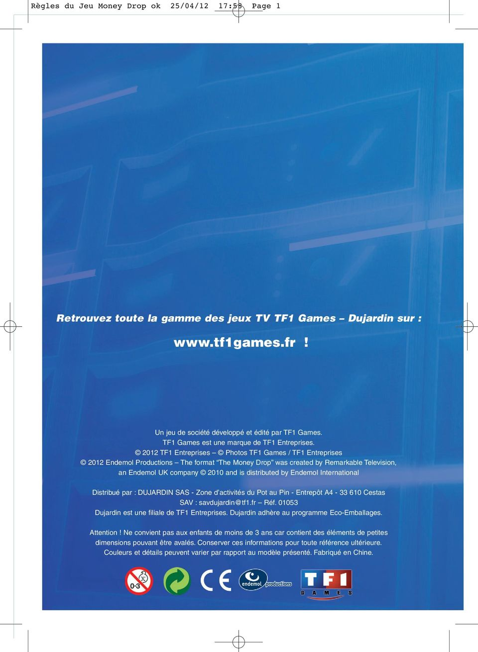 R gles du jeu money drop ok 25 04 12 17 58 page 2 pdf for Dujardin sas
