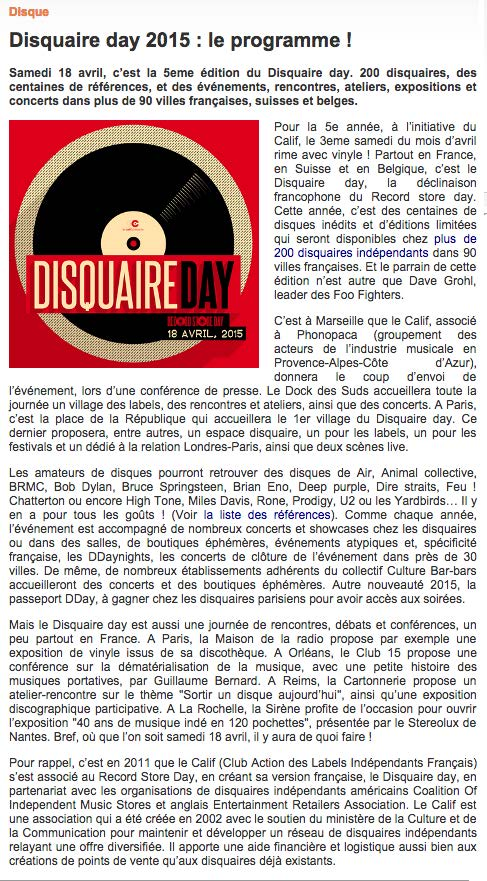 IRMA Avril 2015 Disquaire day 2015 : Le programme