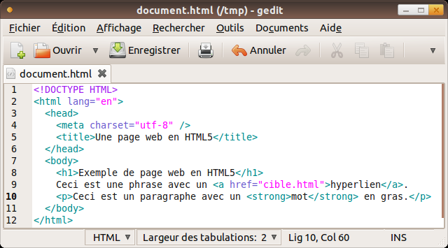 Organisation arborescente d'un document HTML Le balisage