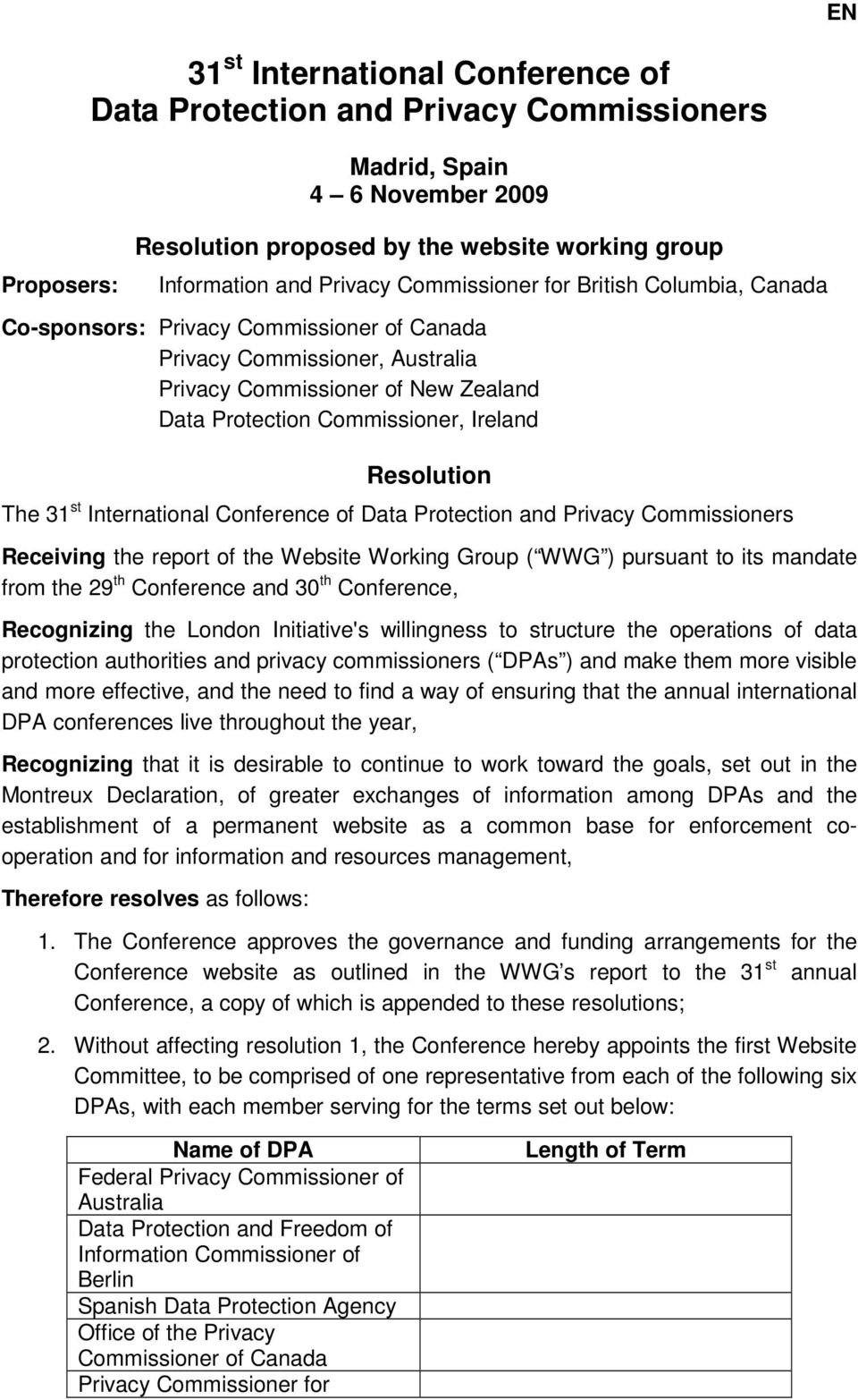 Resolution The 31 st International Conference of Data Protection and Privacy Commissioners Receiving the report of the Website Working Group ( WWG ) pursuant to its mandate from the 29 th Conference